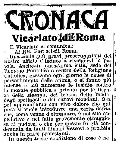 Gennaio 1914: Il Cardinale Vicario di Roma proibisce il tango.