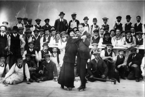 Miss Clayton and Marquis demonstration tango on roller skates at the new Queen's Rink, Earl's Court, London, November 01, 1913